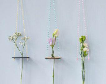 Hanging Vase - Minimal Hanging Vase, Test Tube Vase, Perspex, Wood, Party Decoration, Wedding Decor, Gift for Her, Stocking Filler