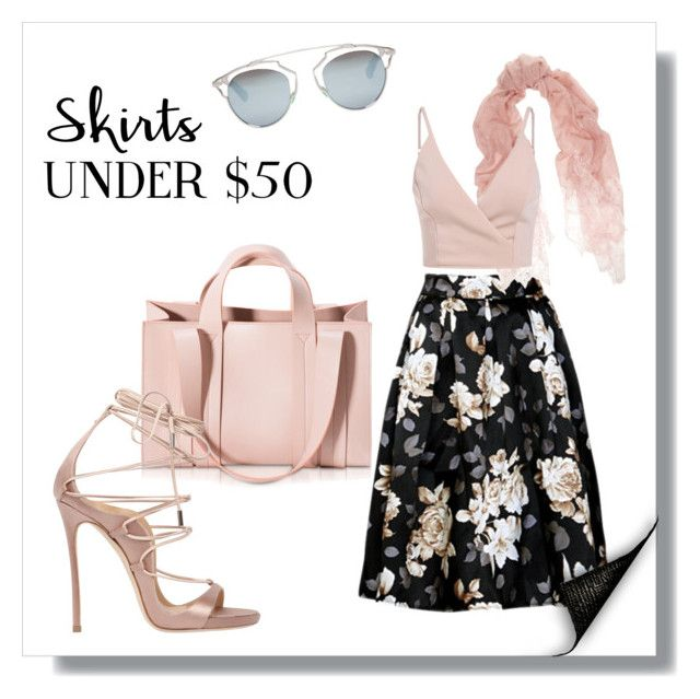 """""""Skirts Under 50$"""" by charlotte-shuann ❤ liked on Polyvore featuring Corto Moltedo, Valentino, Dsquared2, Christian Dior, under50 and skirtunder50"""