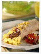 Breakfast Burrito - make it vegan using almond milk and tofu . (Gimme Lean is vegan sausage )