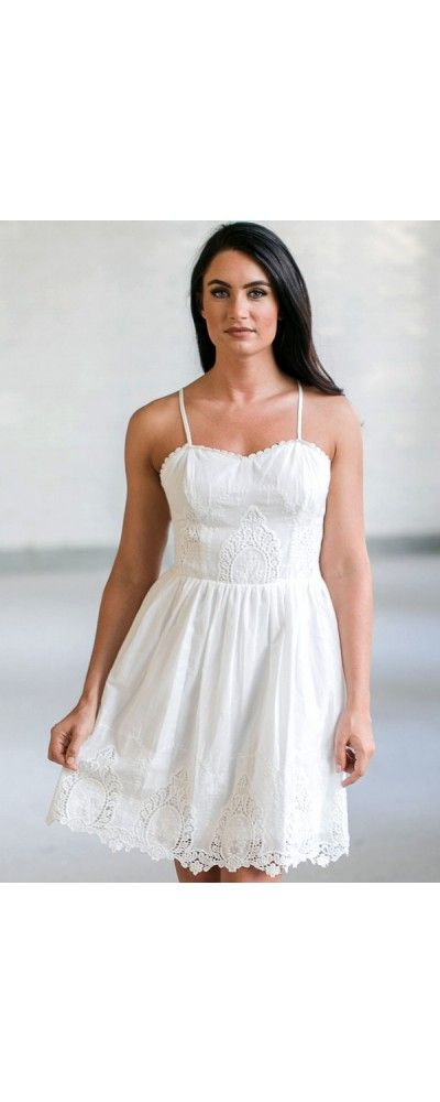 Lily Boutique Let's All Get Strappy Eyelet A-Line Dress in White, $42 White Eyelet Dress, Cute White Summer Dresses Online, White Sundress, Online Boutique Dress www.lilyboutique.com