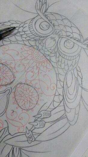Owl skull tattoo sketche