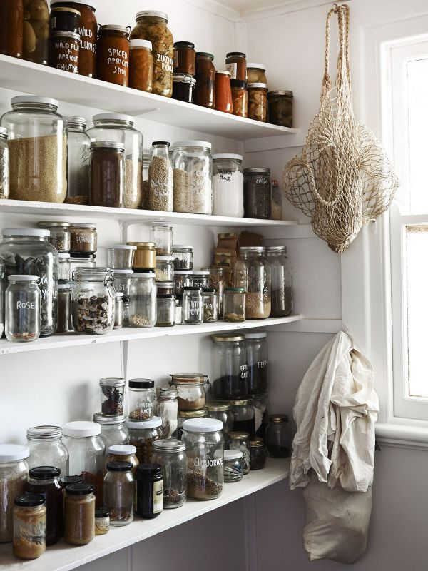 kitchen pantry: sealed bottles + shallow shelving