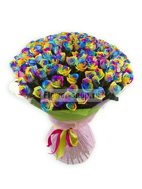 «Букет из 101 радужной розы»