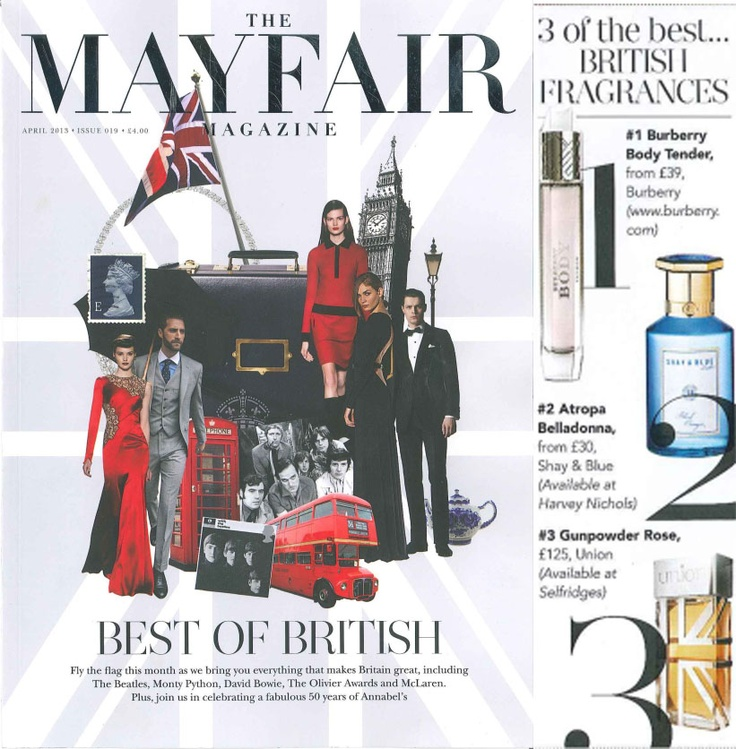 British fragrance house; Union is selected as one of the '..3 of the best British fragrances' in Mayfair Magazine this month.