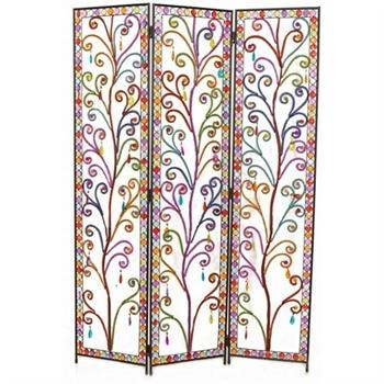 three panel screen with beads of all colors - Home Decor Screens