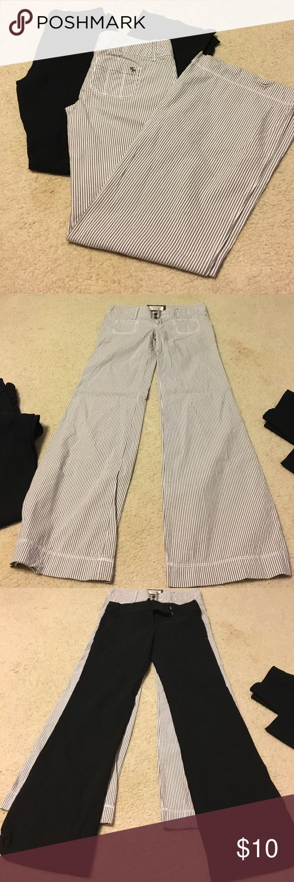 Bundle of dress pants Bundle of two pairs of dress pants. Black pair are candies size 3 with flare/boot cut, and white and brown pinstripe pair are Abercrombie and fitch size 00 reg. Both are in great condition barely worn. Abercrombie & Fitch Pants Trousers