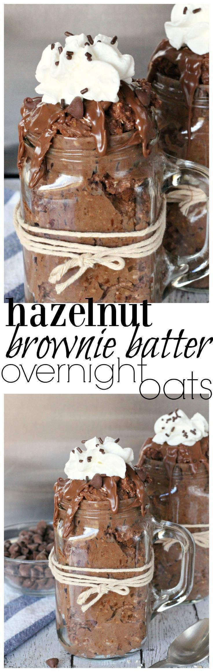 Hazelnut brownie-flavored overnight oats that are ready for you first thing in the morning.