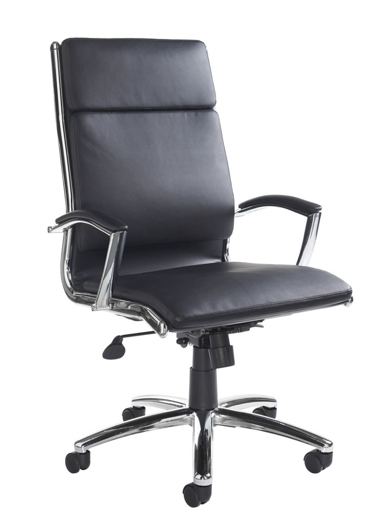 Florence Executive Leather Faced Office Chair With Contemporary Design And Sculptured Lumbar Support Chrome Base Detailing