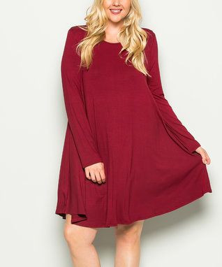 Burgundy Shift Dress - Plus