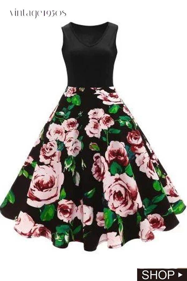 HHei/_K Women Vintage Print High Waist Dresses Half Sleeve V Neck Retro Prom Evening Party Swing Dress Long Ball Gown