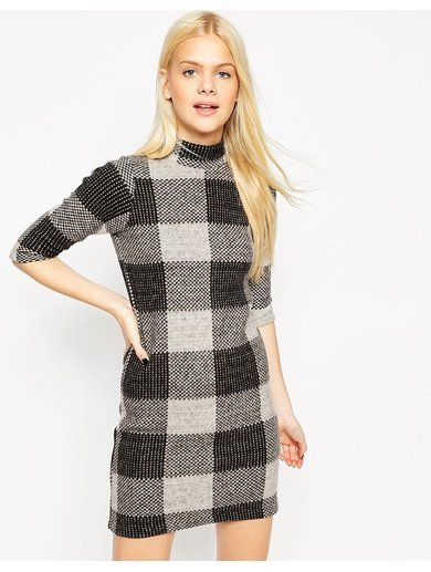 ASOS Shift Dress in Brushed Check - Multi