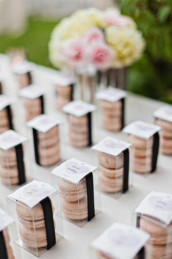 Pink macaron as wedding favor, so cute! Photo by Amanda K Photography