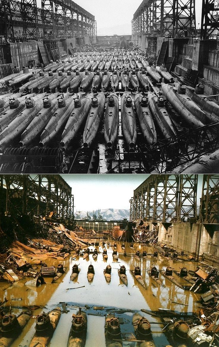 """""""Koryu"""" Midget Submarines in drydock at Kure, Japan. Before and after Allied bombing. [740x1174] - Imgur"""