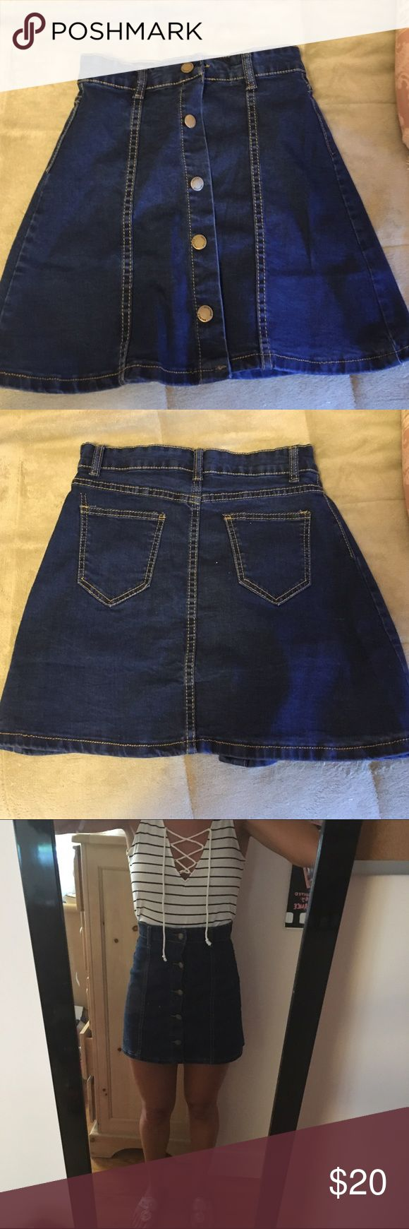 High waisted Jean Skirt Really cute Jean skirt, never been worn before Skirts A-Line or Full
