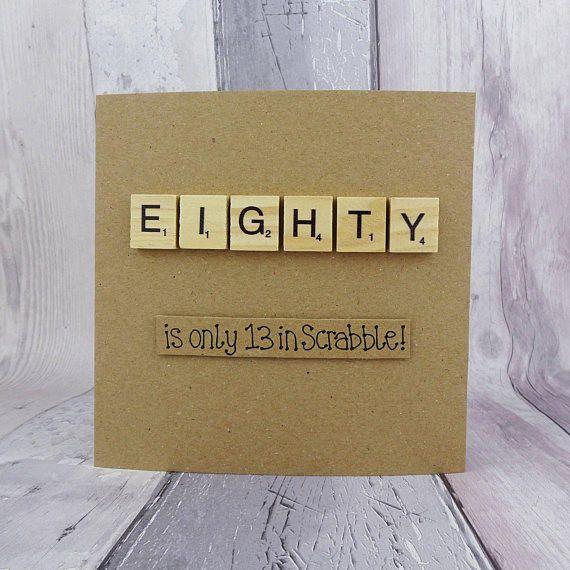 80th birthday card Eightieth Scrabble card Handmade eighty