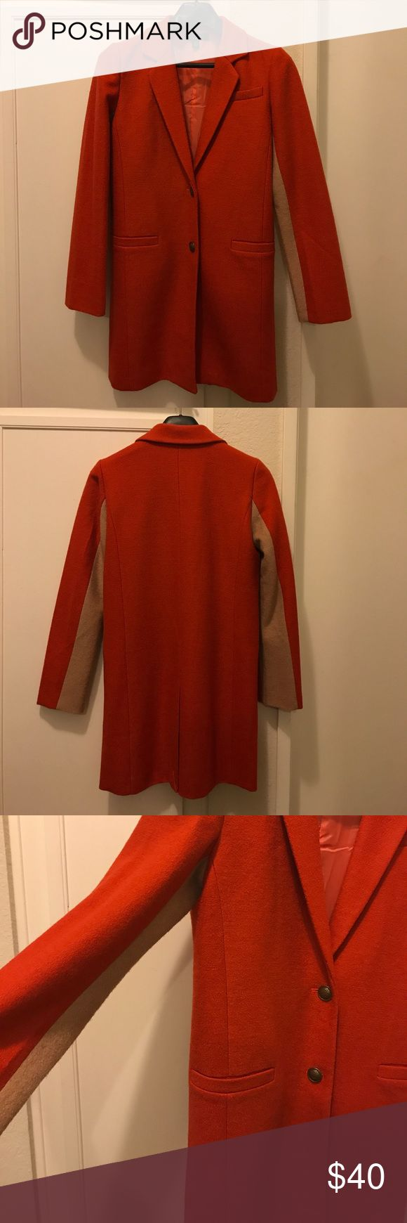 Anthropologie Burnt Orange Wool Blazer This slim-fitting, wool blazer with two-toned sleeves from Anthropologie is in excellent shape. It will make an excellent addition to your fall wardrobe! Anthropologie Jackets & Coats Blazers