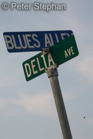 Blues Alley: the Delta area of Mississippi, where blues music was born in America .The blues got its start in Africa just to keep the record straight . Cool street sign Amen ?