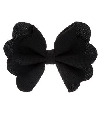 Black Scallop Edge Bow Hair Slide