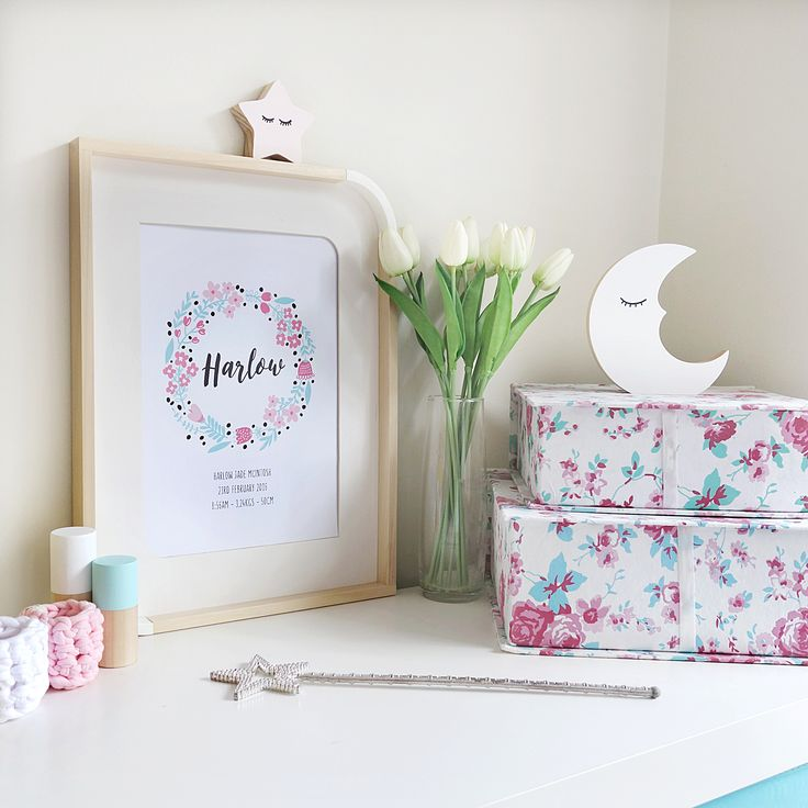 Personalised baby birth print. Pink and mint garland.