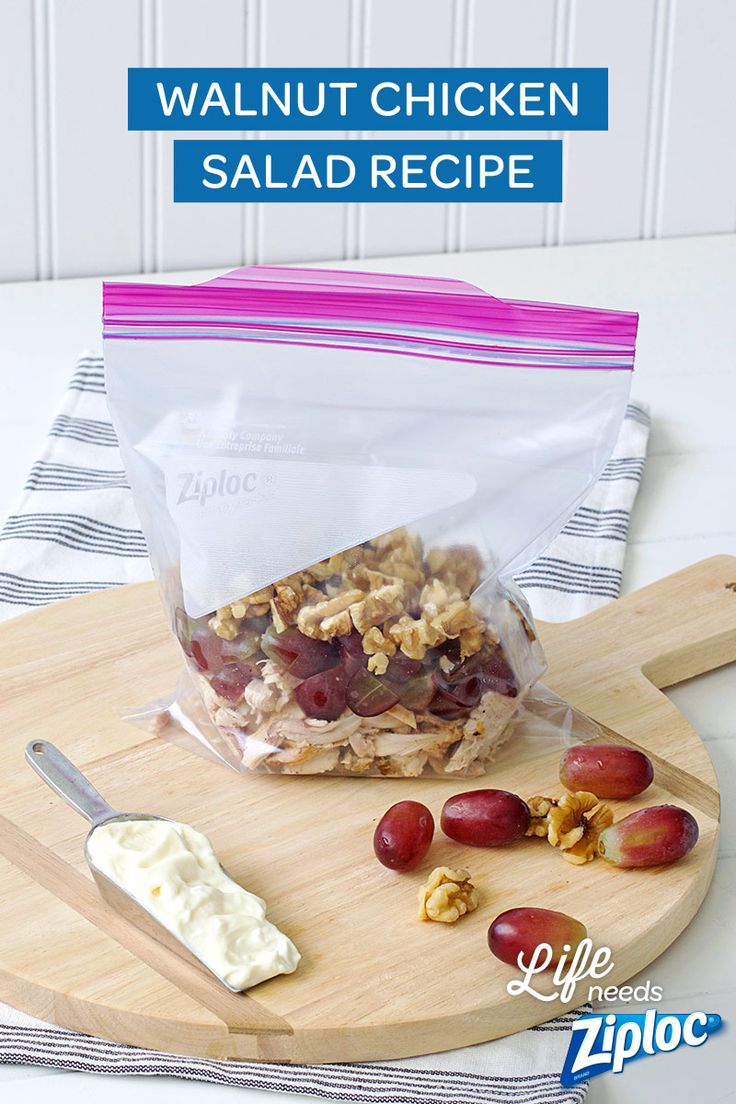 Make delicious Walnut Chicken Salad the Ziploc® way with this recipe! Stuffed with healthy ingredients (and a bit of mayo), you'll look forward to this lunch all morning.