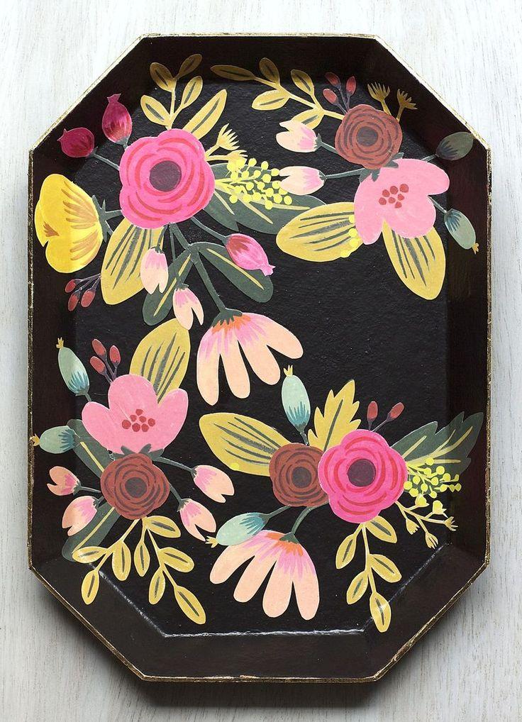 DIY Floral Tray Decoupage