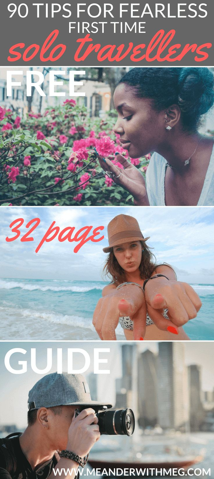 A free 32 page downloadable guide full of tips for first time solo travellers to help your first time travelling go smoothly.   Solo travel   first time travel   travel guide   travel planning   backpacking tips   solo female travel   travel preparation   travel hacks   travel tips