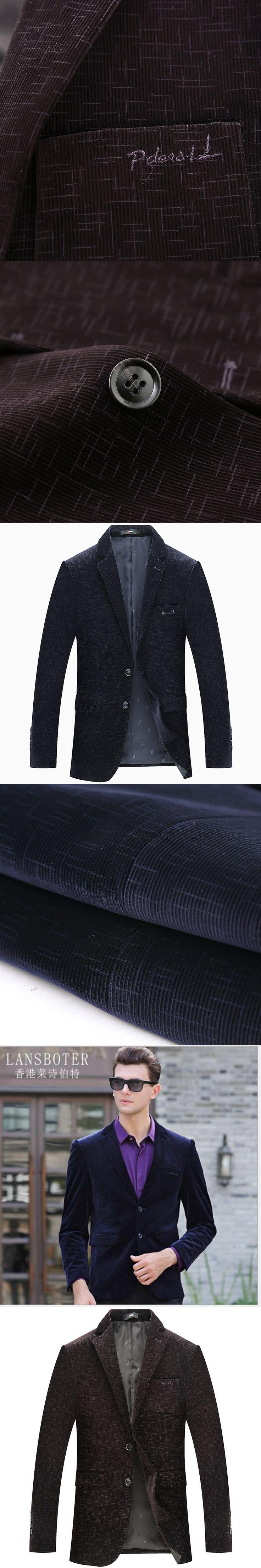 LANSBOTER suit 2017 autumn men's casual suit youth Slim fine pattern velvet suit jacket blue purple fashion suit 1771 1772
