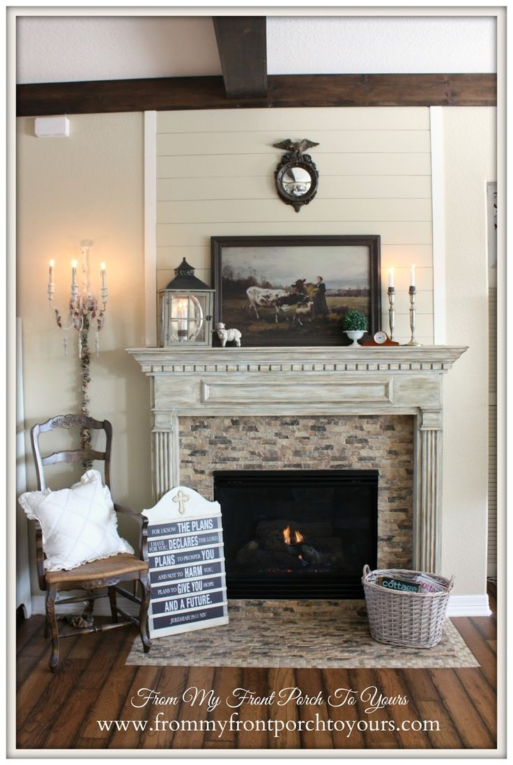 DIY Wood Beams-French Country Mantel Vignette- From My Front Porch To Yours