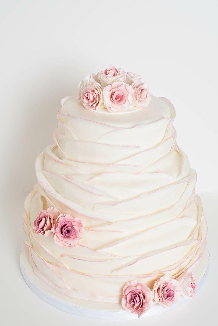 Beautiful 3 tier Softly Ruffled Wedding Cake with