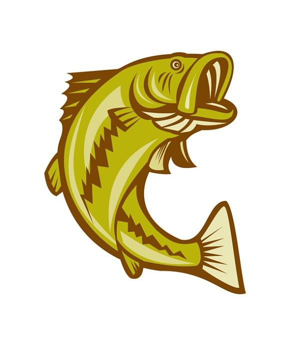 Largemouth Bass Jumping Cartoon Fish Clipart Fish Silhouette Clipart Black And White