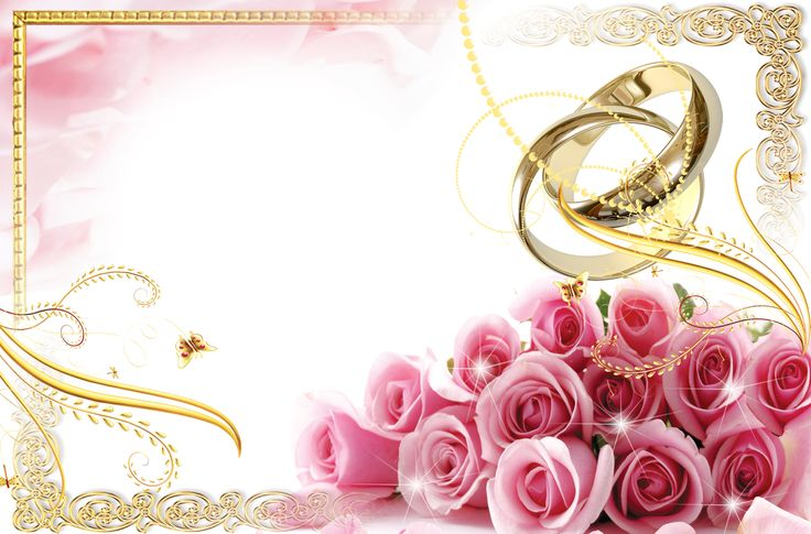 Transparent Wedding Frame with Rings and Pink Roses