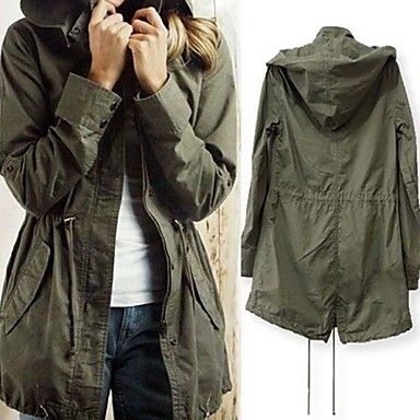 Women's Casual Drawstring Military Army Green Hoodie Trench Coat Jacket – USD $ 31.49