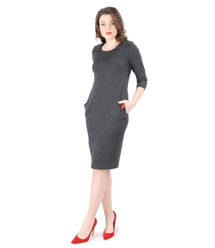 Rochie din jerse elastic gros cu garnitura gri - YOKKO