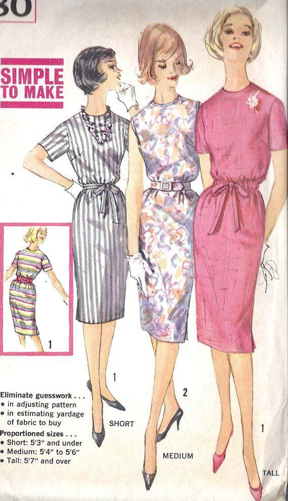 1960s Misses Slim Dress Vintage Sewing Pattern by MissBettysAttic, $8.00