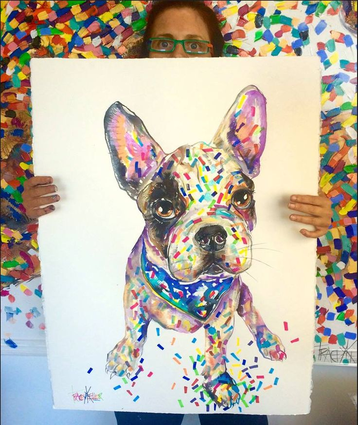 """TRACEY KELLER """"DOG A DAY"""" COSMO Acrylic and Ink on 640gsm paper 76cm x56cm Enquiries email: Jean@traceykeller.com.au  The french bulldog who snores like an old man, chews everything, gives so much love, farts all the time, follows me everywhere, brings love, happiness and laughter to my life everyday! #painting #artist #art #dog #canine #australia #animal"""