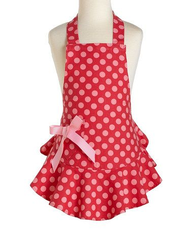 Take a look at this Red & Pink Polka Dot Josephine Apron - Kids by Jessie Steele on #zulily today!