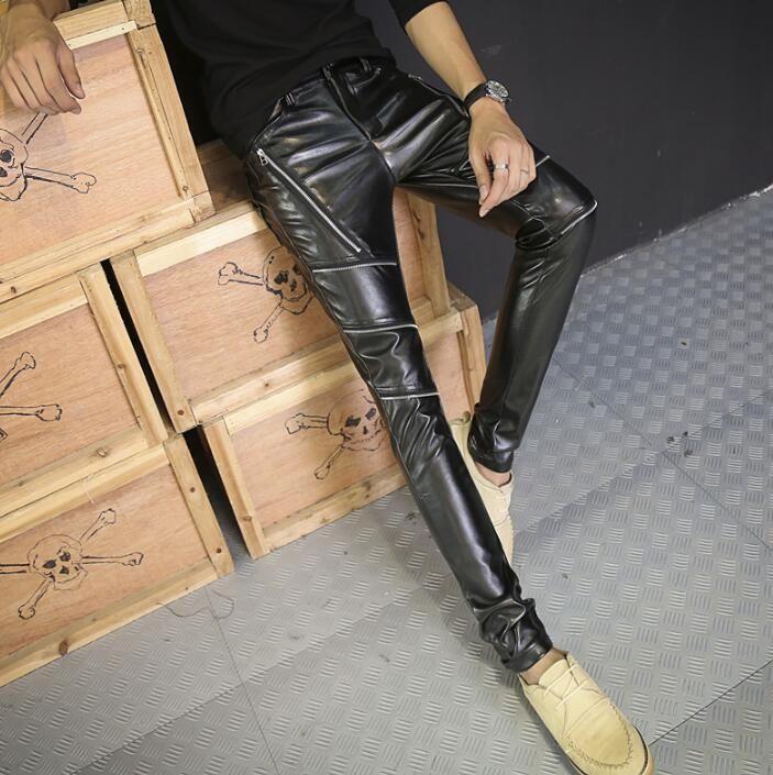 Zipper personality fashion slim men skinny pants motorcycle leather pant men feet trousers pantalones hombre pantalon homme