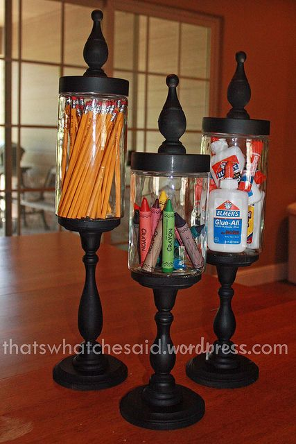 Make your own Apothecary Jars from things you buy, or recycle jars you've used.  Finally something to do with all those candlesticks I don't use anymore. Lots of ideas for seasonal fillings...