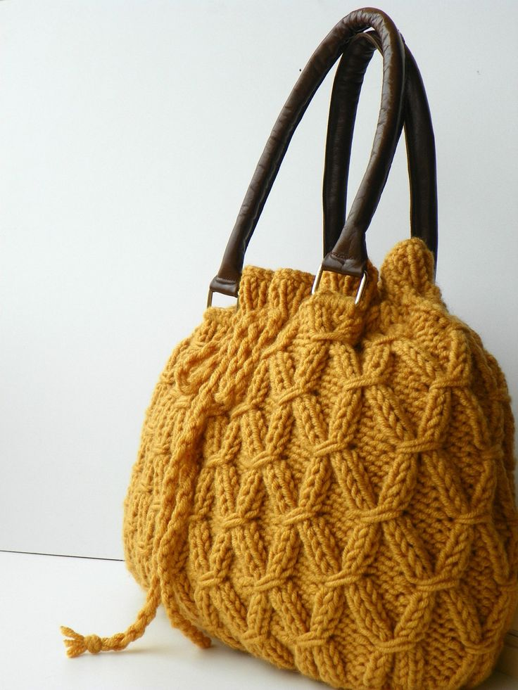 Knit Bag Fall Fashion Shoulder and Handbag, NzLbags, Mustard Knit Bag, Leather Strap Nr-0214