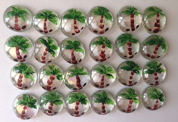 24 GLASS GEMS Hand Painted Tropical Palm Trees Palm Tree Jewelry, Party Favors, Mosaic Tile, Bingo