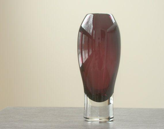 Riihimaen Aimo Okkolin Amethyst Vase - Riihimaen Lasi Oy - Mid-Century Scandinavian Art Glass Finland