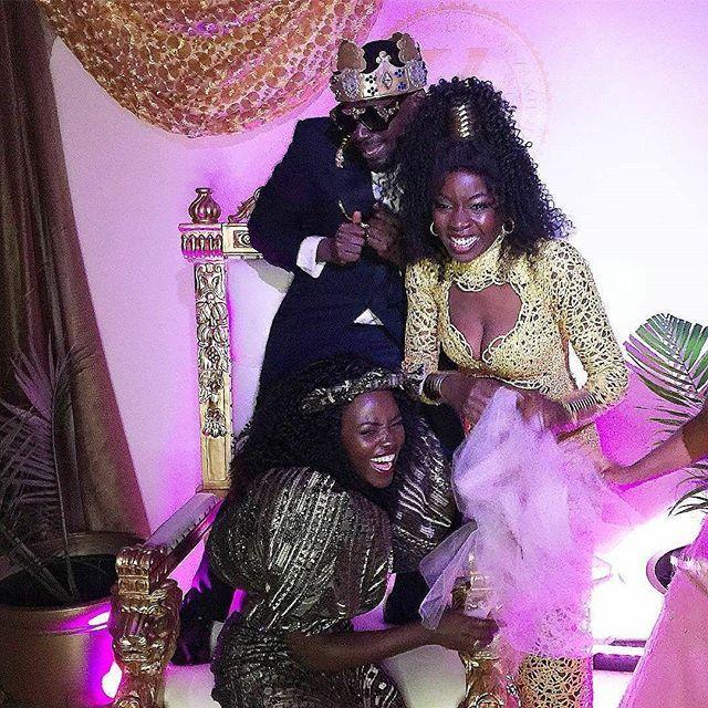 We love #ComingToAmerica this much! Joint birthday party shenanigans with @danaigurira @kaluuya. #WakandansInZamunda