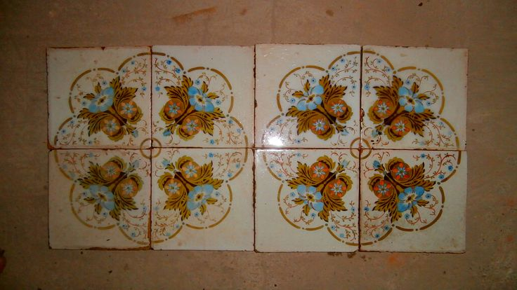 Very old handpainted ceramic - majolica glazed tiles.These tiles can use for any backsplash,bathroom,kitchen,... Please check out our website for more information here : WWW.LUXURYSTYLE.ES