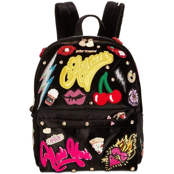 Betsey Johnson Patch Velvet Medium Backpack ($218) ❤ liked on Polyvore featuring bags, backpacks, black, daypack bag, velvet bag, betsey johnson backpack, day pack backpack and backpack bags