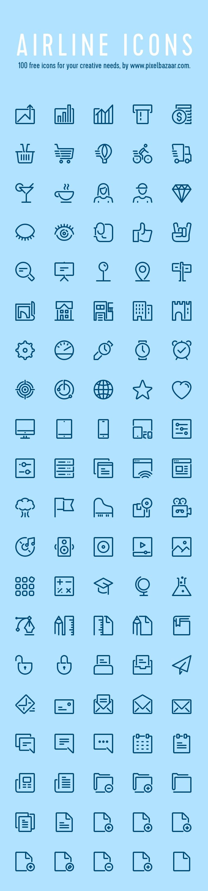 100 Airline Icons - download freebie by PixelBuddha