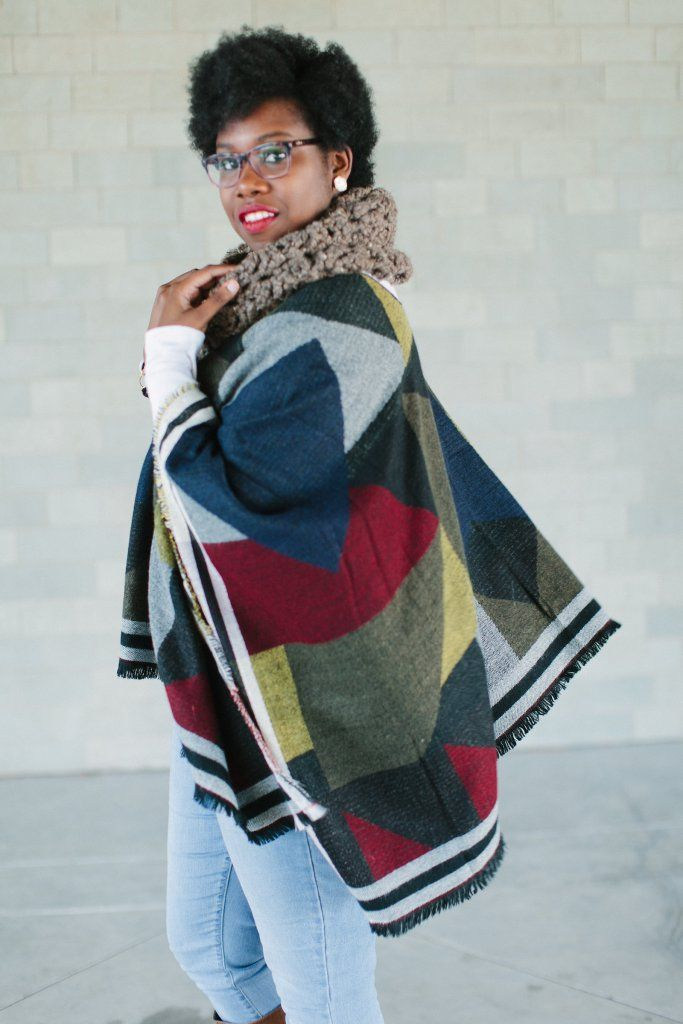Diversity Chic: Poncho Style | Ware is the Vodka?!?  Poncho and chunky scarves pair together well for fall and winter.