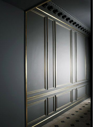 grey wall paneling with brass trim, I really want to do some molding treatments…                                                                                                                                                     More