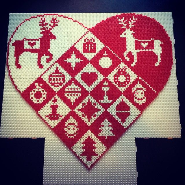 Christmas heart hama perler beads by aslaugsvava