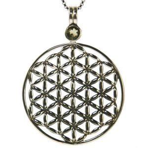 Moldavite Flower of Life Pendant Sterling Silver