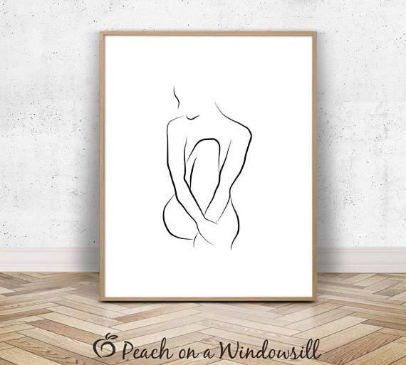 Nude Woman Sketch | Female Body Art | Modern Nude Line Drawing | Naked Lady Poster | Sexy Wall Decor | Black White Minimal Printable Art